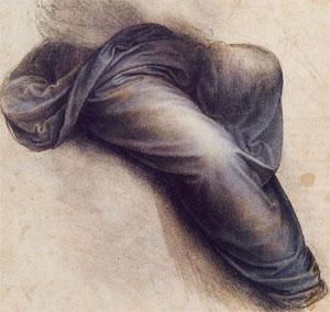 étude pour le manteau de la vierge (vers 1507, Louvre)