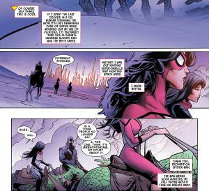 Spider-Woman riding on a giant lizard on an alien planet with two heroes you have never heard of.