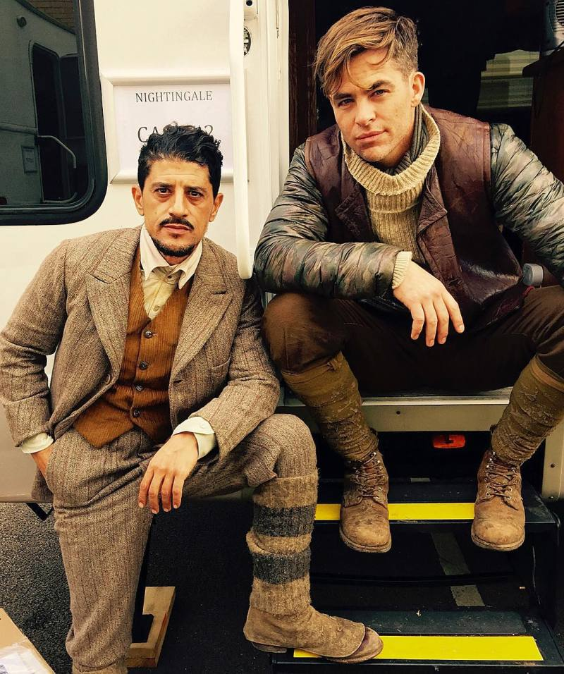 Chris Pine and Said Taghmaoui on the set of Wonder Woman