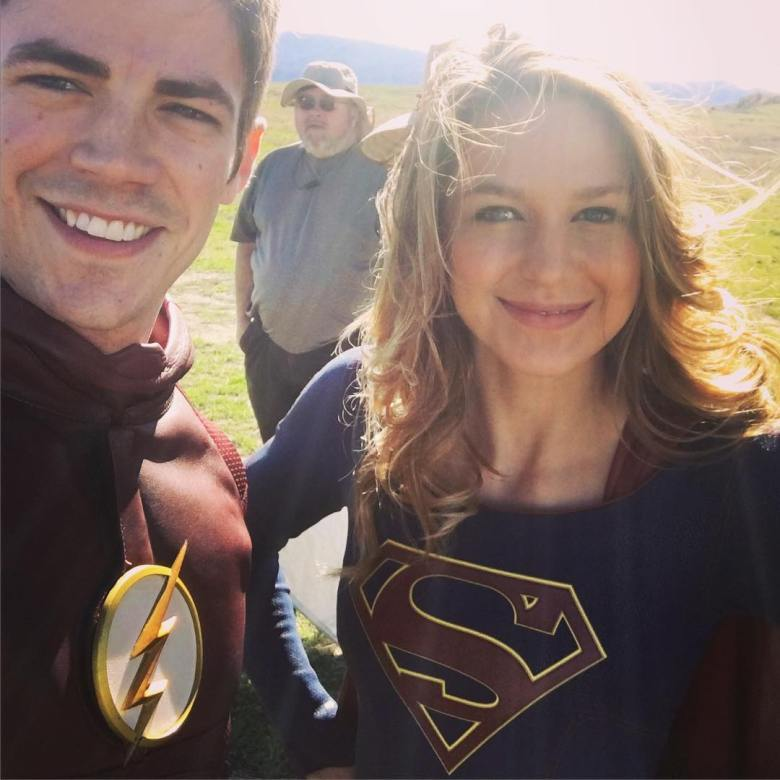 Grant Gustin and Melissa Benoist on the set of Supergirl