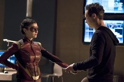 """The Flash -- """"Trajectory"""" -- Image FLA216b_0060b -- Pictured (L-R): Allison Paige as Trajectory and Tom Cavanagh as Harrison Wells -- Photo: Katie Yu/The CW -- © 2016 The CW Network, LLC. All rights reserved."""