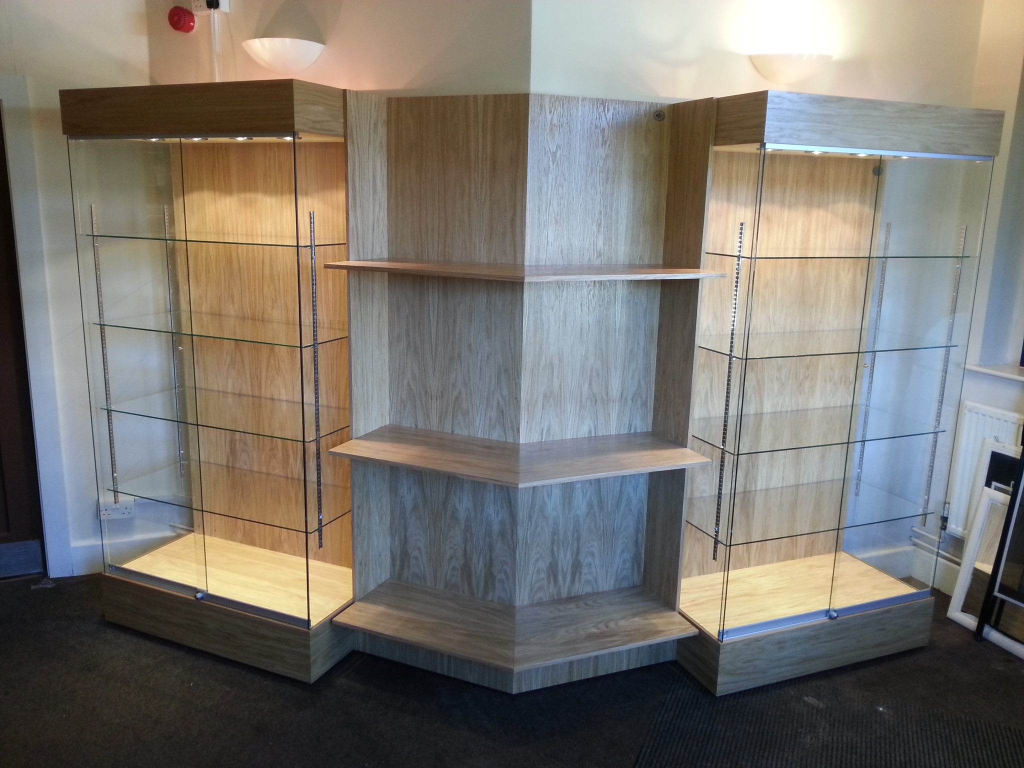 Oak Trophy Display Cabinets shelving to display visitor information