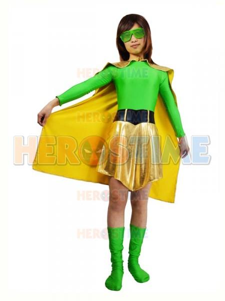 Green Spandex Amp Light Gold Metallic Superhero Costume