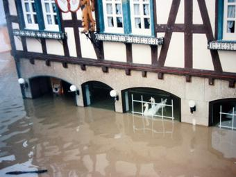 Hochwasser in der Bäckerei Harth