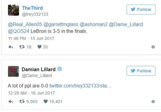 """""""Finallerde LeBron 3-5"""" diyen bir taraftara Lillard'ın cevabı: """"Çoğu insan 0-0."""""""