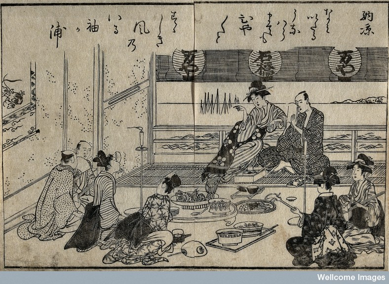 V0046678 A scene in a Japanese tea house Credit: Wellcome Library, London. Wellcome Images images@wellcome.ac.uk http://wellcomeimages.org A tea-house scene: evening cooling (noryo) Woodcut 1815 Published: 1815] Copyrighted work available under Creative Commons Attribution only licence CC BY 4.0 http://creativecommons.org/licenses/by/4.0/