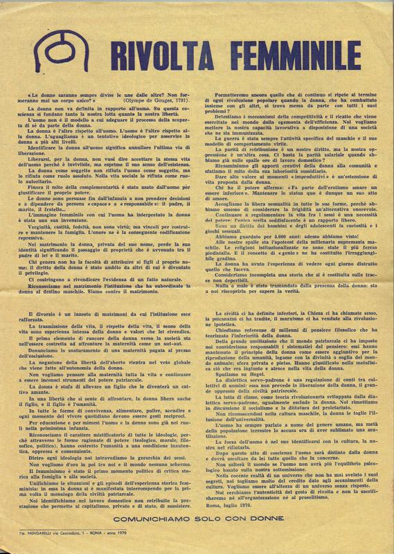 Αποτέλεσμα εικόνας για rivolta femminile 1970