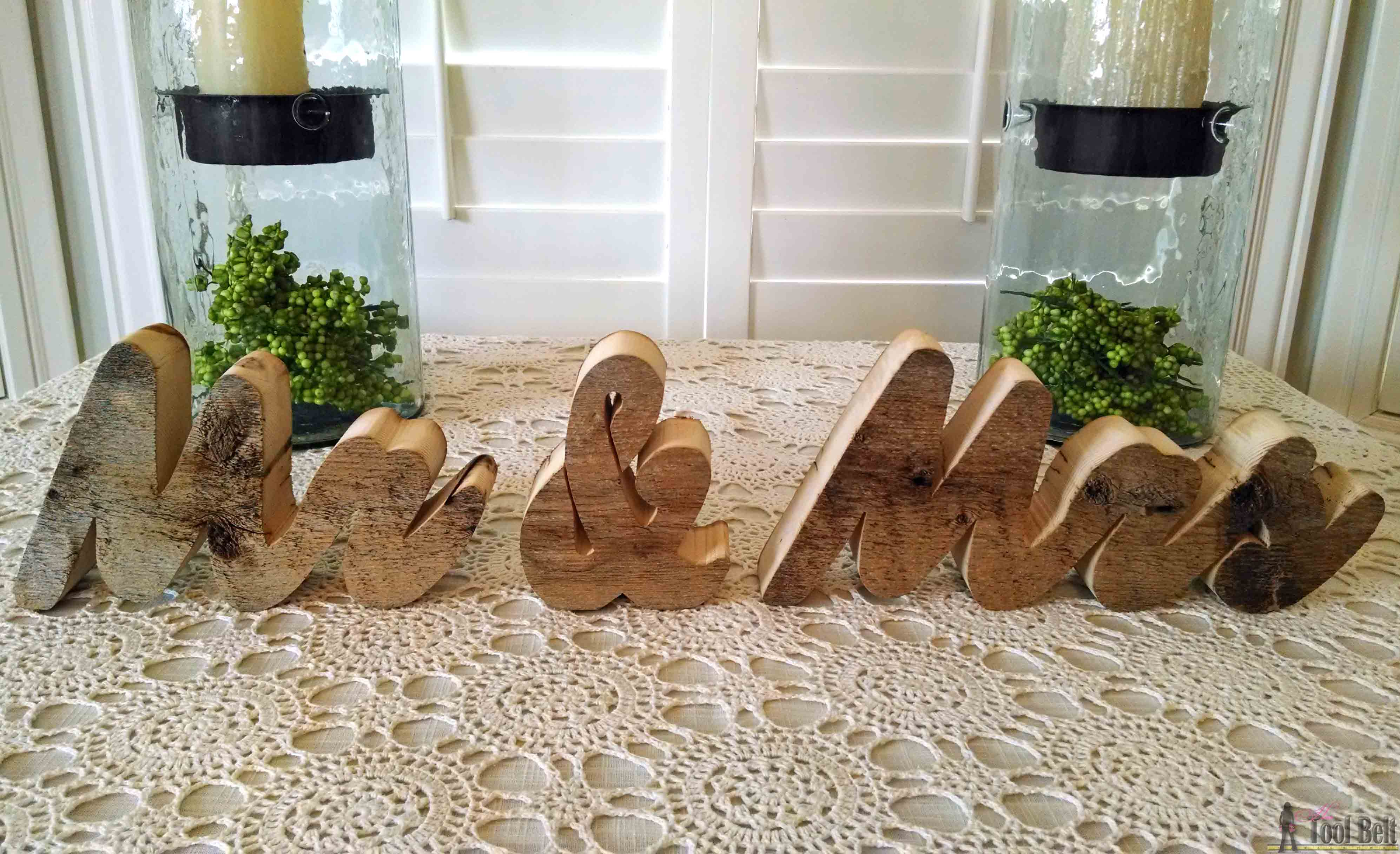 Fun DIY gift for the wedding couple, chunky rustic Mr and Mrs blocks with free pattern.