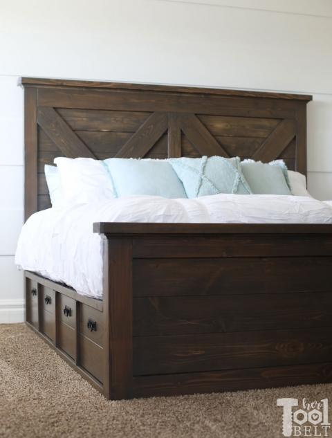 queen x barn door farmhouse bed plan