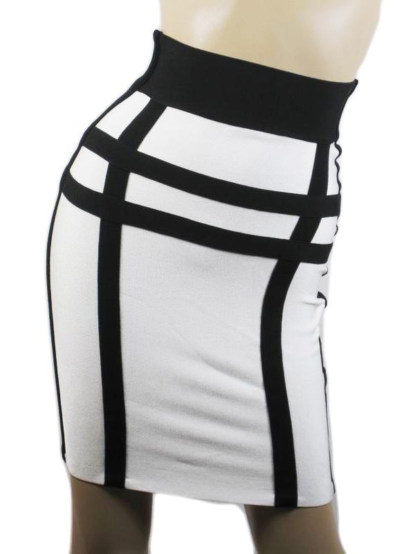 New Herve Leger Black and White Mini Skirt