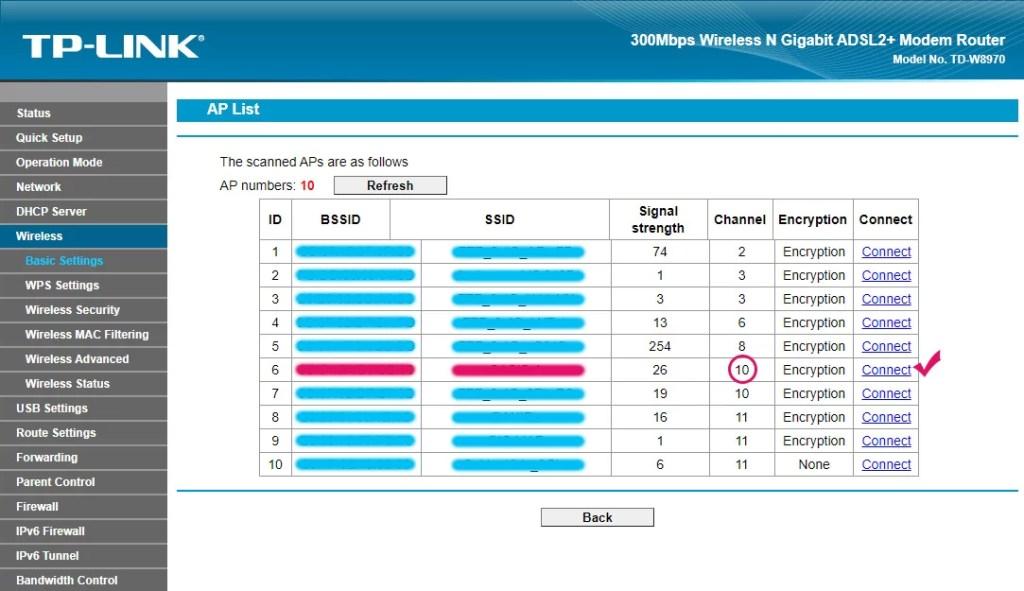 Scan AP List WDS Bridge TP-LINK