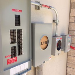 electrical switchgear next to an electrical service