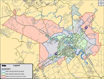 maps showing NBU service area