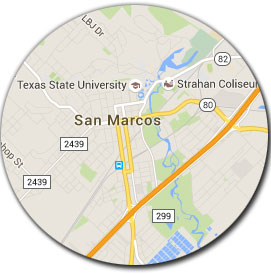 map of San Marcos TX