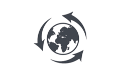 icon of the earth with a recycle symbol