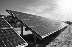 ground mounted solar panels in a field