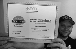 Derrick Hoffman displaying his NABCEP Certificate