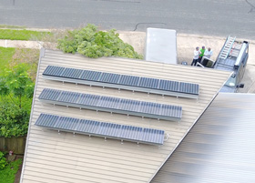 Solar Panels installed at a tilt in Northwest Austin TX