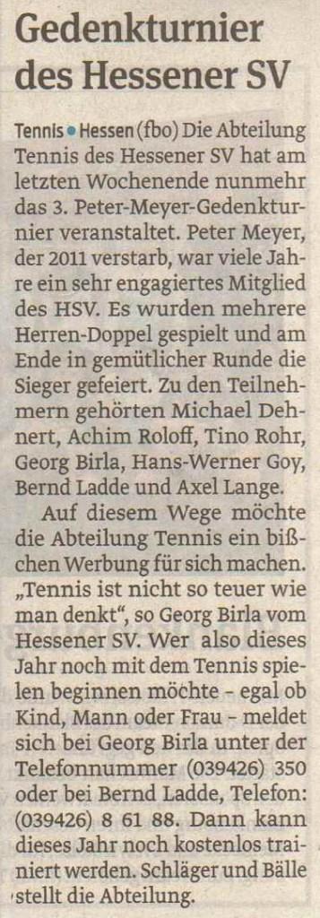 06. Sept. 2014 3. Peter-Meyer-Gedenkturnier