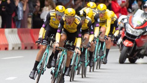 Tony Martin (front) and the Jumbo Visma team at the Tour de France