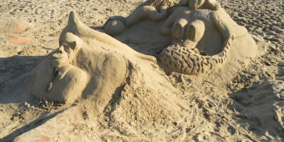 Vandalised sand art on Scottburgh Beach KwaZulu-Natal