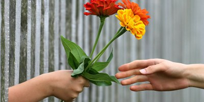 An image of two hands, one holding flowers being handed over the other