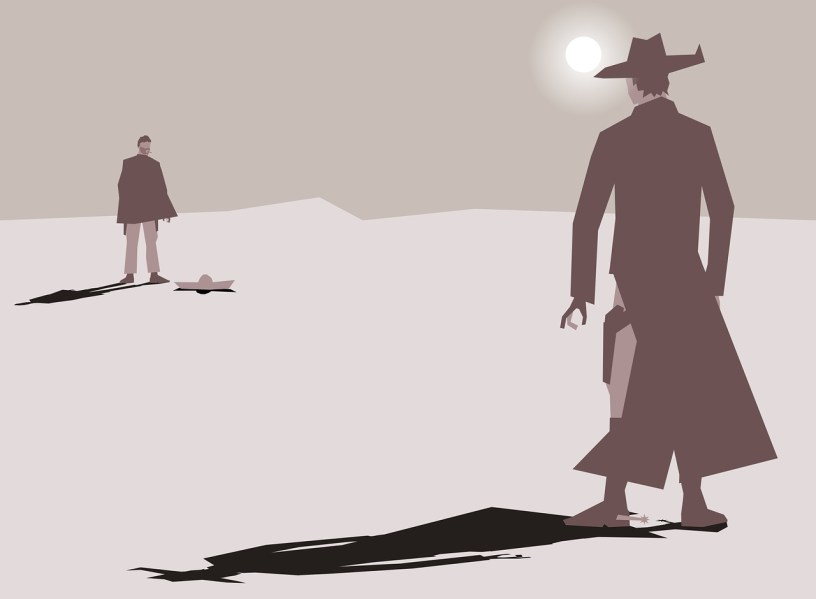 Two gunslingers preparing for a shootout