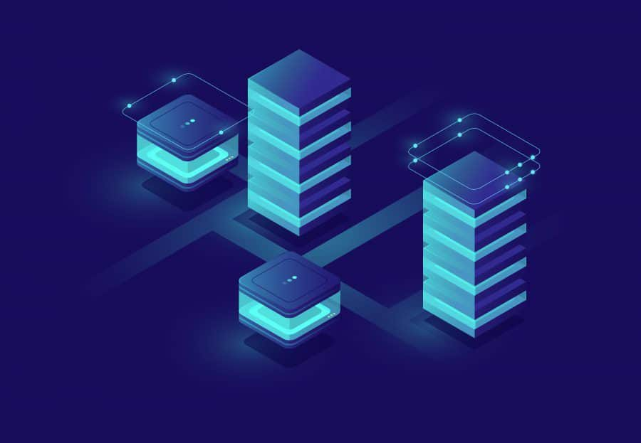 Concept of smart urban city with server room and database icons, data center and database, big data processing isometric vector