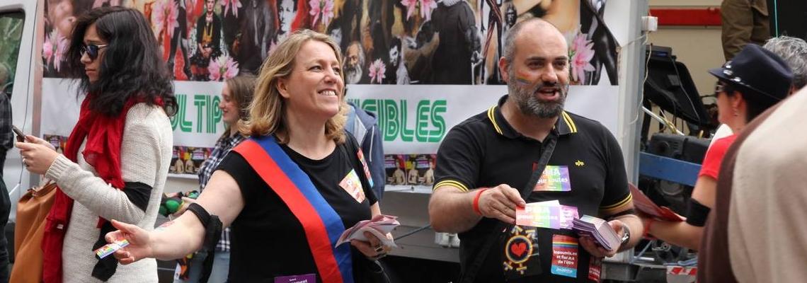 danielle simonnet jean-charles lallemand marche des fiertes lgbt paris samedi 2 juillet 2016 la france insoumise