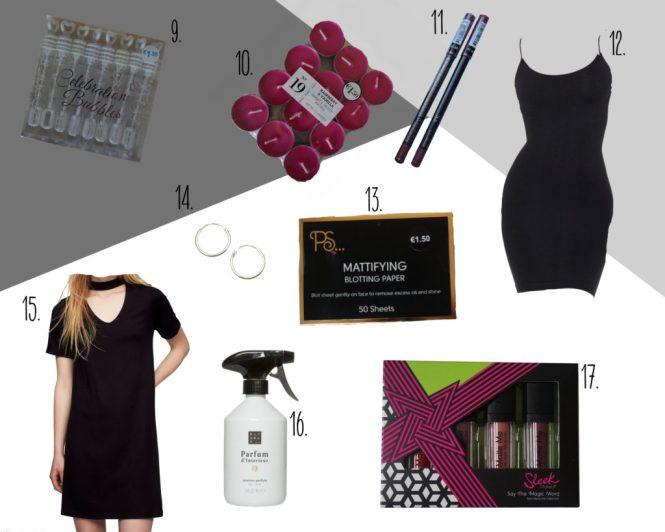 bellenblaas, geurkaarsen, lipliners, cami dress, jurk, sleek liquid lipsticks, oorbellen