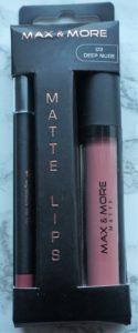 Action Matte Liquid Lipstick Max&More Deep Nude 04 pakketje