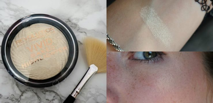 Revolution collage vivid baked highlighter Golden Lights Boozyshop precision fan brush