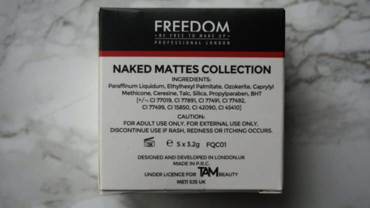 FREEDOM Naked Mattes Collection lipsticks ingrediënten