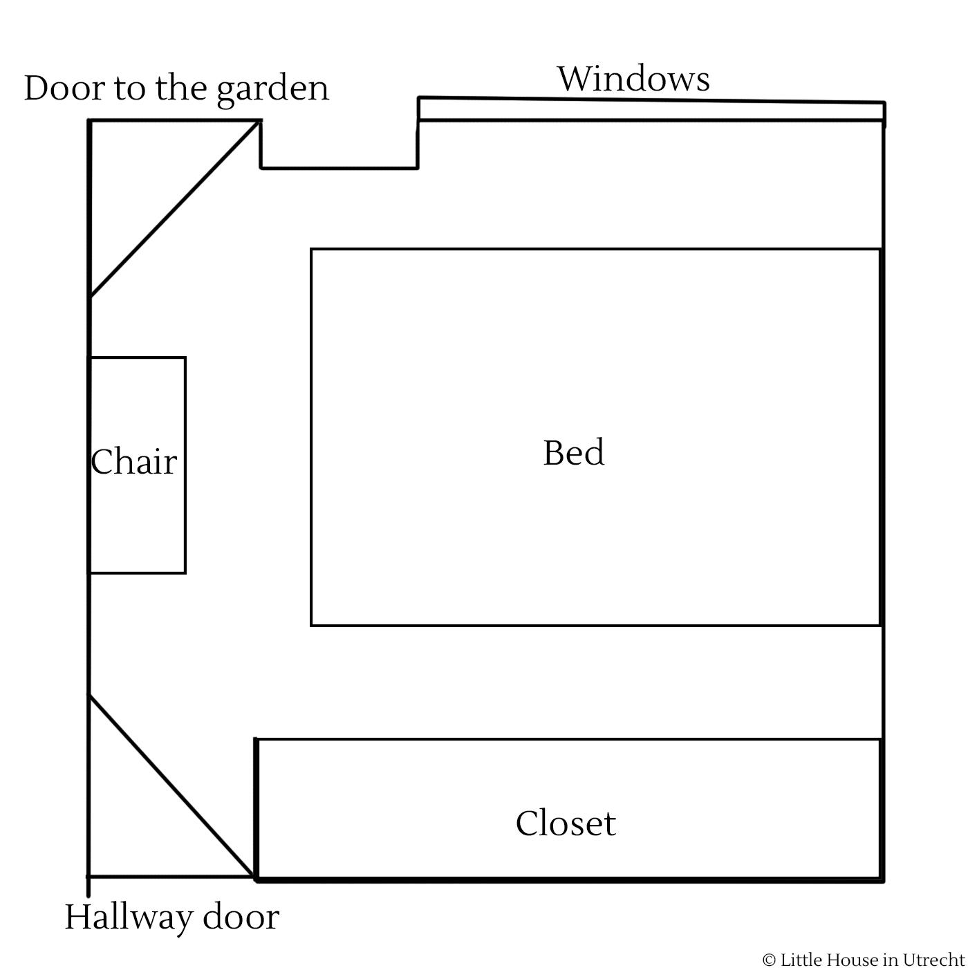 tiny bedroom layout, little house in utrecht
