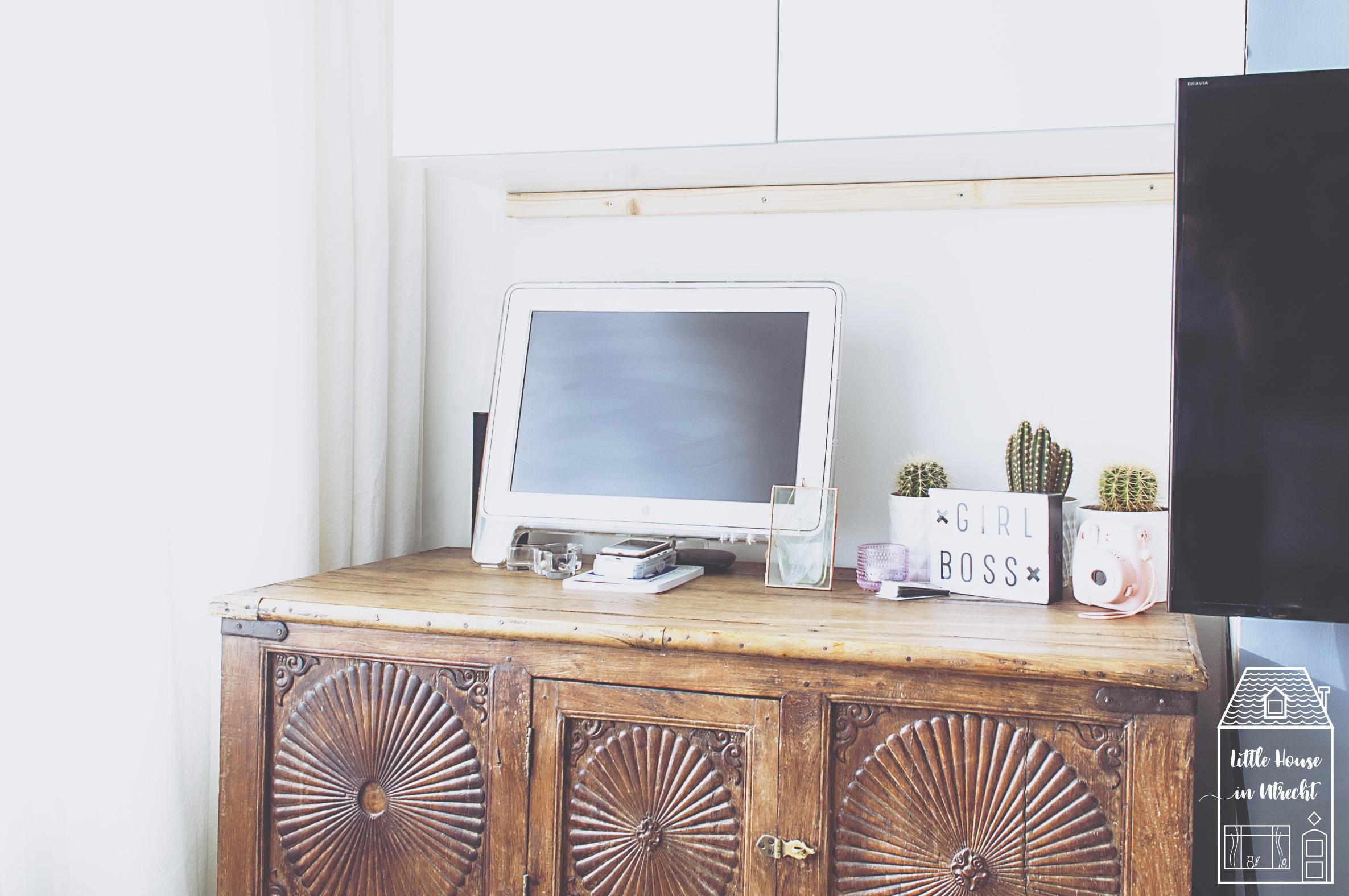 girl boss, light box, antique dresser, scandinavian bohemian