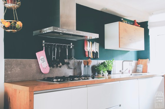 Little House in Utrecht, green kitchen, green kitchen walls, dark green kitchen