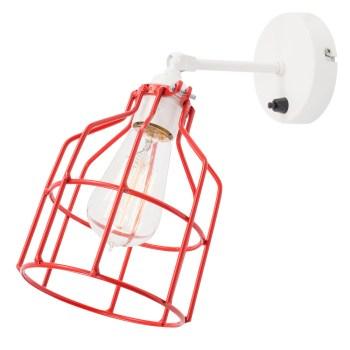 No.15 Wandlamp wit met rode kooi