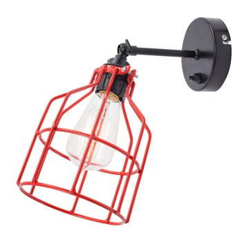 No.15 Wandlamp zwart met rode kooi