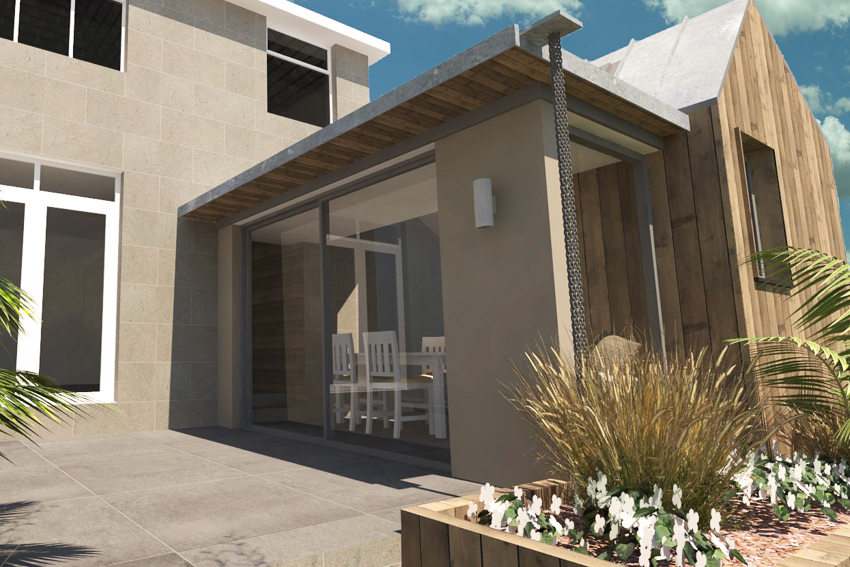 3-D rendering of the scheme for a contemporary rear addition to a 1950 house on the outskirts of Bath.