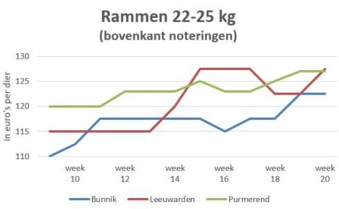 Grafiek marktprijzen rammen van 22 tot 25 kg per veemarkt in Bunnik, Leeuwarden en Purmerend