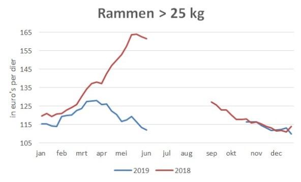 grafiek gemiddelde marktprijzen rammen boven 25 kg in 2019 en 2018