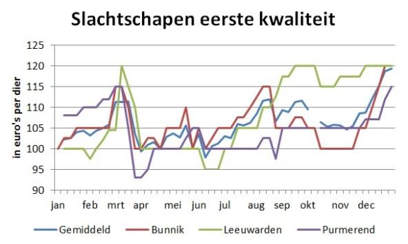 grafiek met markprijzen van slachtschapen