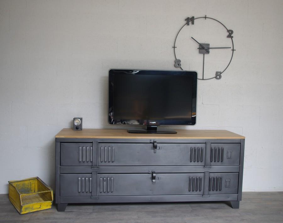 meuble tv industriel avec ancien vestiaire 2 portes ref fresno