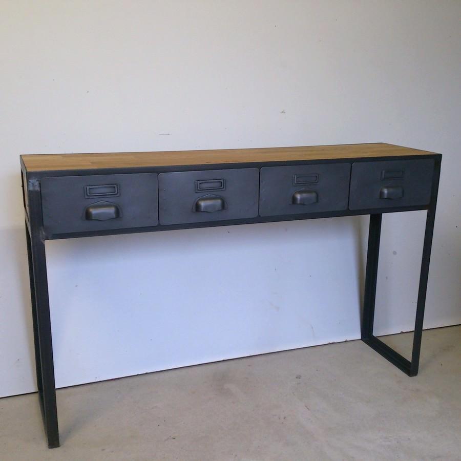 console style industriel avec tiroirs anciens sur mesure ref detroit