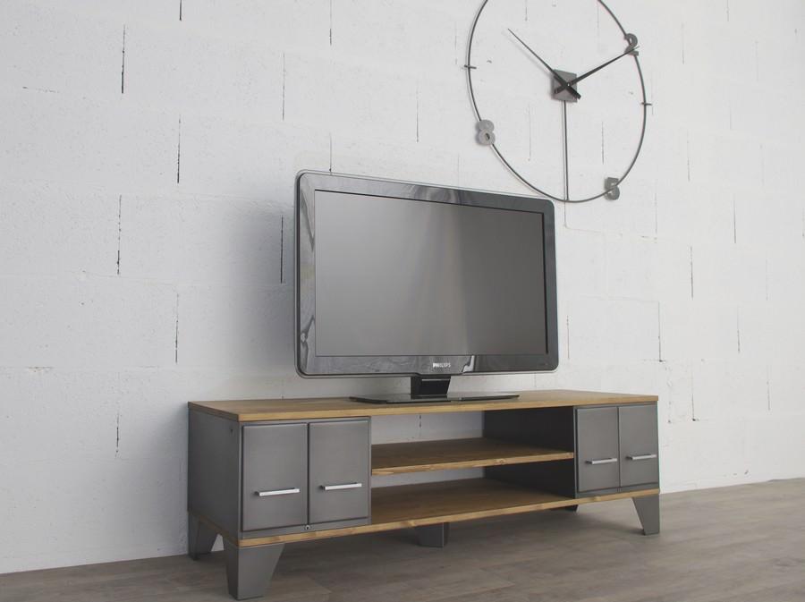 meuble tv industriel avec anciens tiroirs et niches ref miami