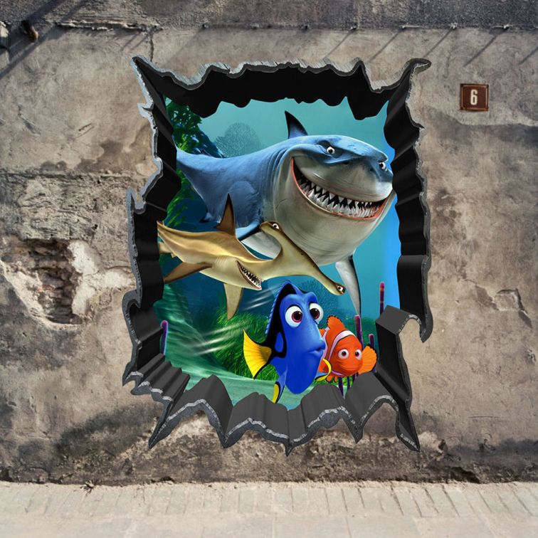 Finding-Nemo-Bruce-Dory-Fish-3D-View-Art-Wall-Stickers-Decals-Kids-Room-Decor