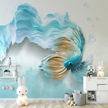 Luxury 3D Blue Fish Wallpaper Tv Backdrop Wall Mural Cartoon Photo with regard to Most Recent Fish 3D Wall Art - Arts, Accents, Decals, Murals Collections and More.