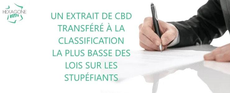 Un extrait de CBD transféré à la classification la plus basse des lois sur les stupéfiants