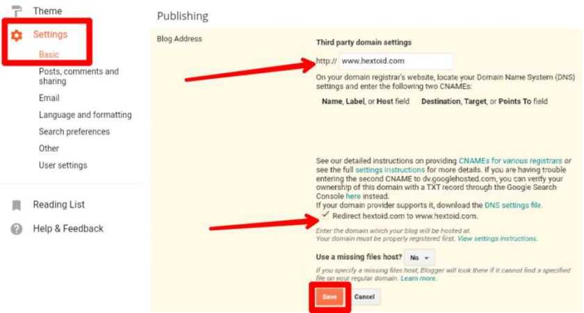 Domain-Forwarding Blogger > Settings > Basic > Redirect > Save