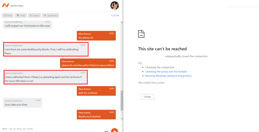 Chat With Namecheap Support